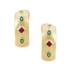 Cartier Precious Gemstone Gold Huggie Clip-On Earrings