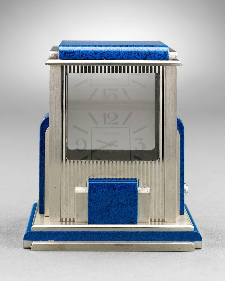 Art Deco Cartier Prism Mystery Clock For Sale