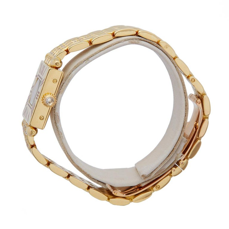 Modern Cartier Quadrant Diamond 18k Yellow Gold Ladies Wristwatch For Sale