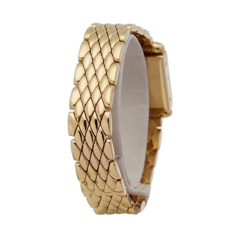 Women's Cartier Quadrant Diamond 18k Yellow Gold Ladies Wristwatch For Sale