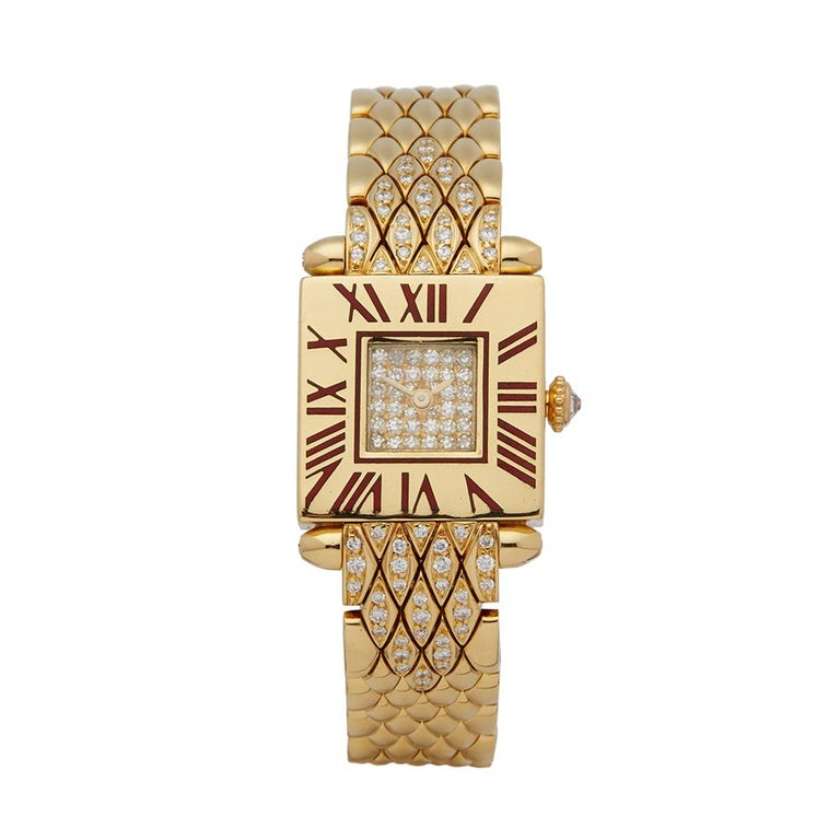 Cartier Quadrant Diamond 18k Yellow Gold Ladies Wristwatch For Sale