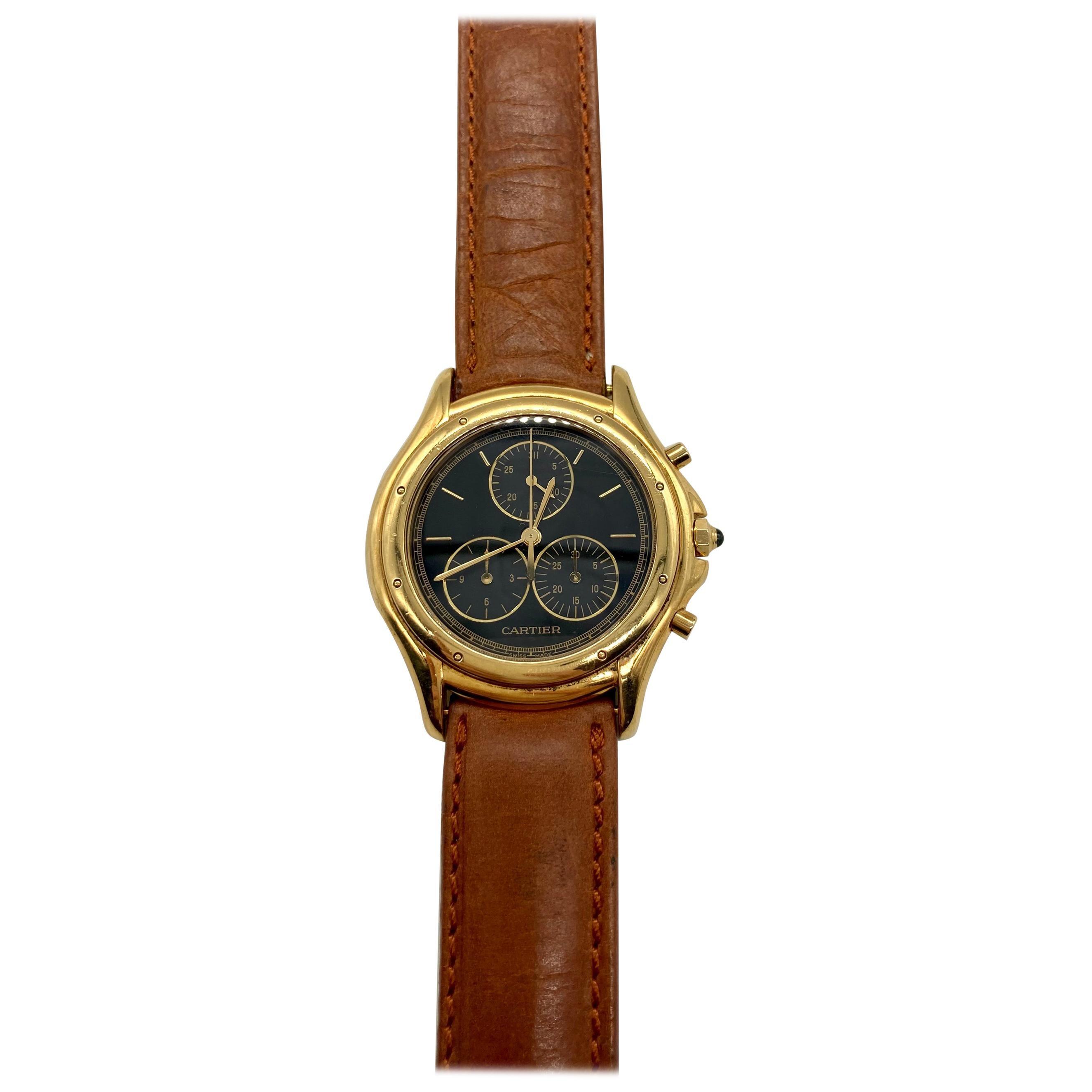 Cartier Quartz Chronograph Yellow Gold Watch