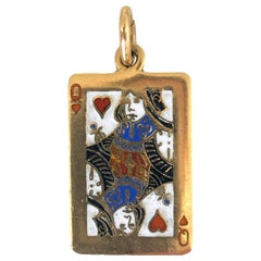 Cartier Queen of Hearts Enamel and Gold 1970s Pendant
