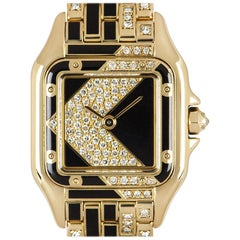 Cartier Rare Art Deco Panthere Ladies 18k Yellow Gold Diamond & Enamel Set Dial