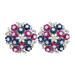 Cartier Red and Blue Sapphire Ruby Diamond En Tremblant Clip-On Earrings
