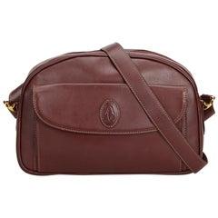 Cartier Red Bordeaux Leather Must de Cartier Crossbody Bag France