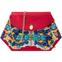Cartier Red Floral Printed Fabric Chain Shoulder Bag