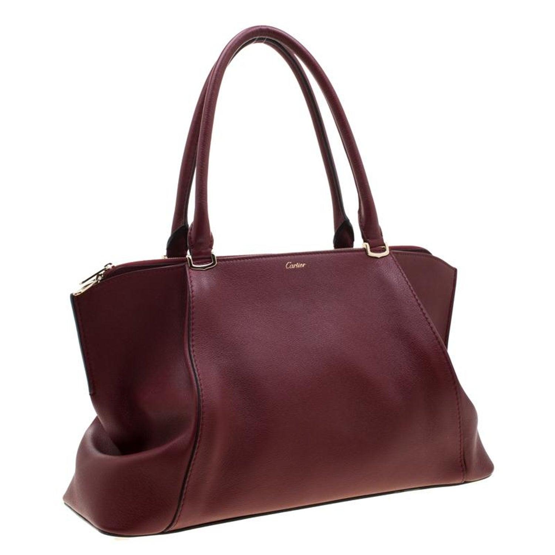 Cartier Red Taurillon Leather Medium C De Bag