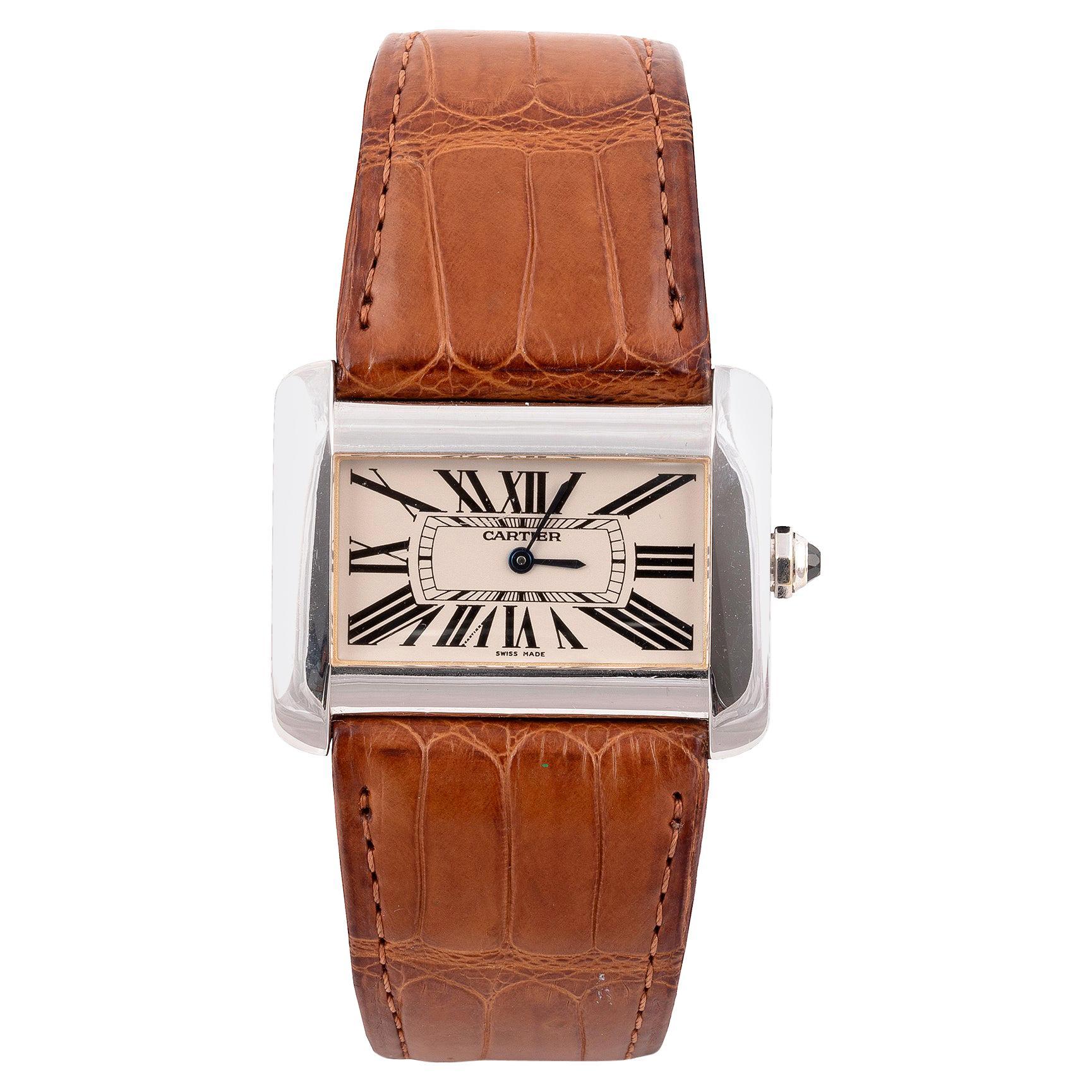 Cartier Ref. 2602 Tank Divan Quartz White Gold Wristwatch