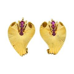 Cartier Retro 0.50 Carat Ruby 18 Karat Gold Scrolled Foliate Ear-Clip Earrings