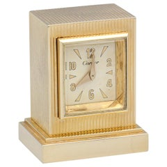 Cartier Retro 14 Karat Gold Key Winding Desk Clock