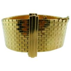 Cartier Retro 14 Karat Yellow Gold Buckle Bracelet circa 1949s Rare