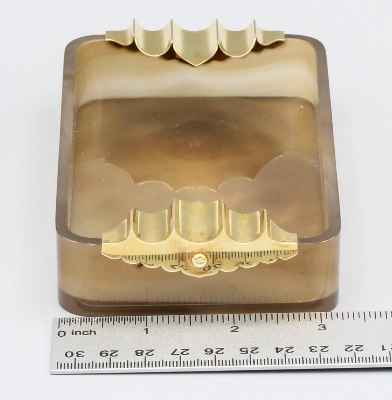 Women's or Men's Cartier Retro Agate and Gold Large Ashtray For Sale