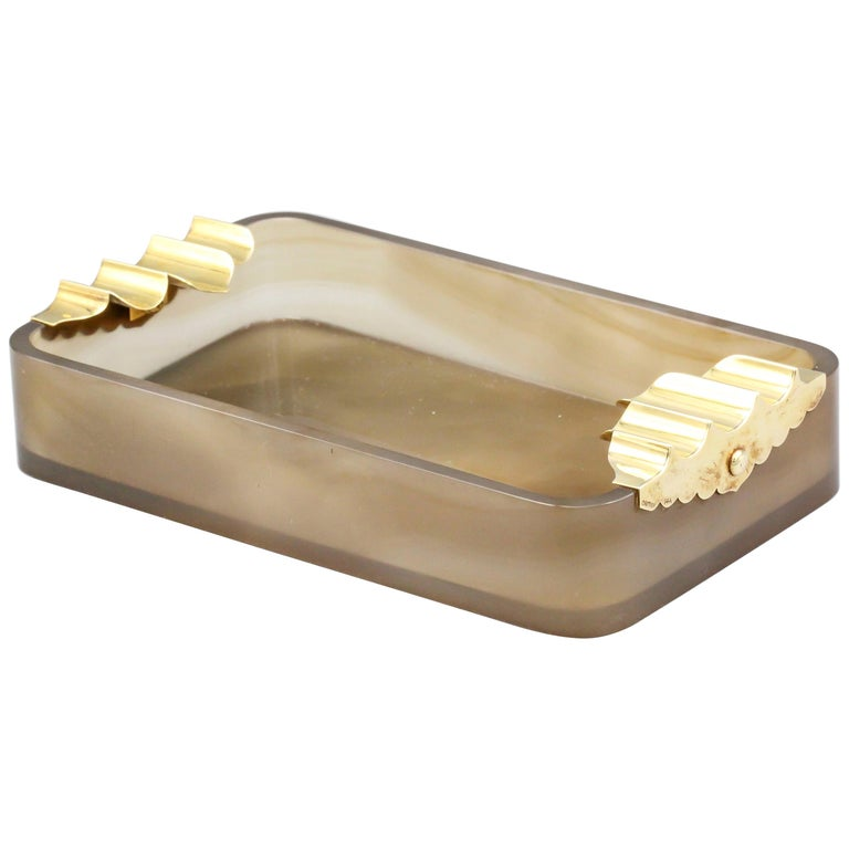 Cartier Retro Agate and Gold Large Ashtray For Sale