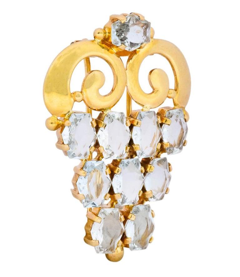 Cartier Retro Aquamarine 14 Karat Gold Clip Brooch In Excellent Condition For Sale In Philadelphia, PA