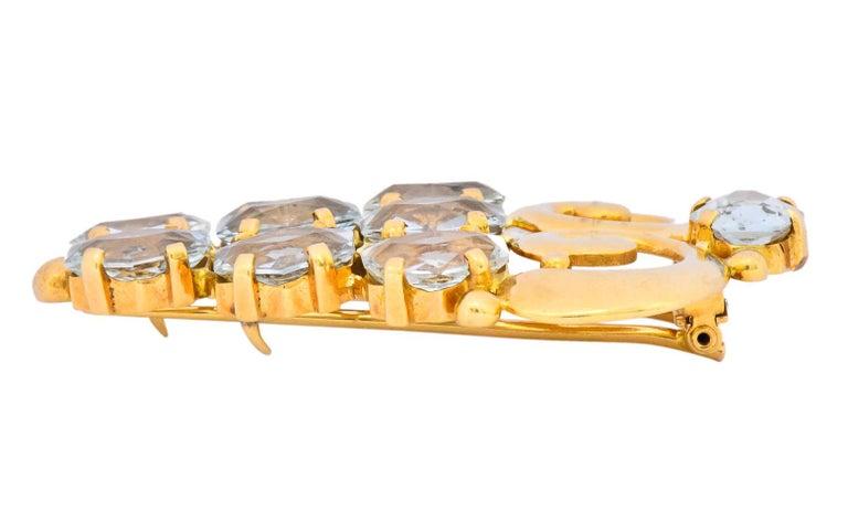Cartier Retro Aquamarine 14 Karat Gold Clip Brooch For Sale 2