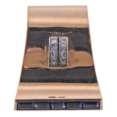 Cartier Retro Blue Sapphire Diamond Brooch Pin