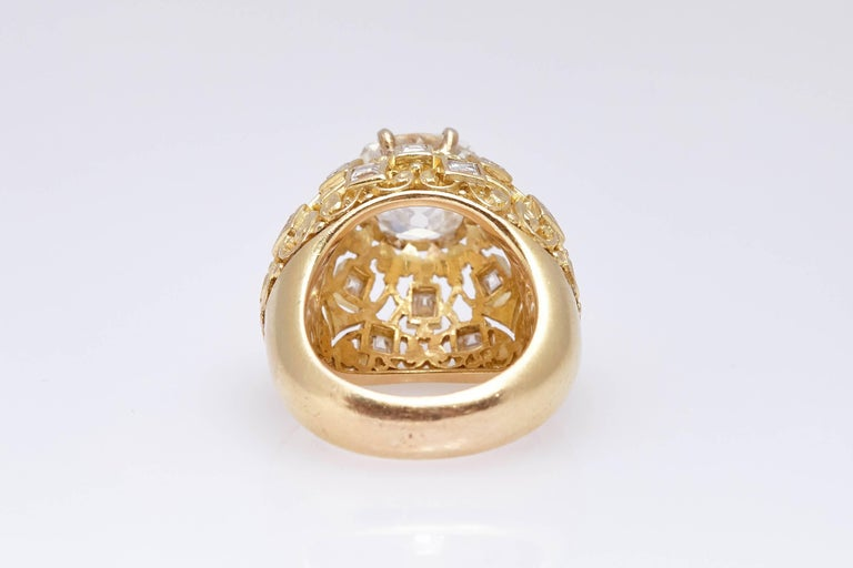 Old Mine Cut Cartier Retro Diamond Gold Ring For Sale