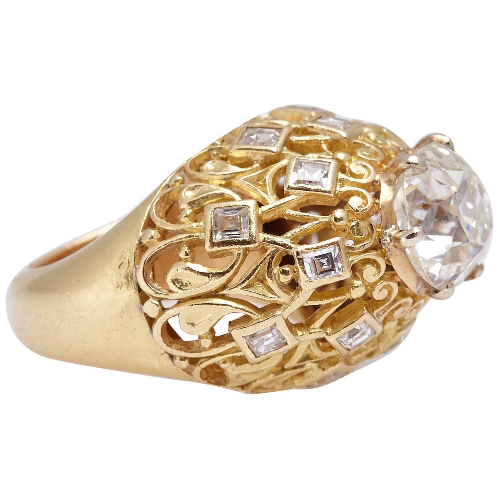 Cartier Retro Diamond Gold Ring