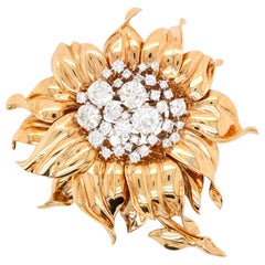 Cartier Retro Flower Brooch, circa 1940s