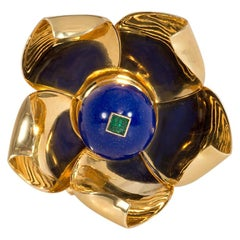 Cartier Retro Mechanical Gold, Lapis, Emerald Flower Brooch with Moveable Petals