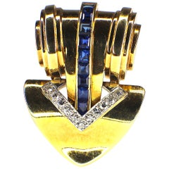 Cartier Retro Sapphire and Diamond Clip-Brooch