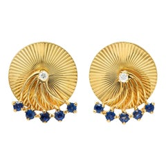 Cartier Retro Sapphire Diamond 14 Karat Yellow Gold Screwback Moving Earrings