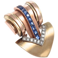 Cartier Retro Sapphire Diamond Gold Brooch
