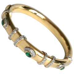 Cartier Rigid Emerald Bracelet  in Gold 18 Carat and Diamonds