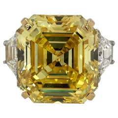 Cartier Ring 43 Carat Fancy Vivid Yellow Asscher Cut Diamond Ring GIA Certified