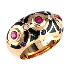 Cartier Ring with Rubies, Diamonds and Black Enamel