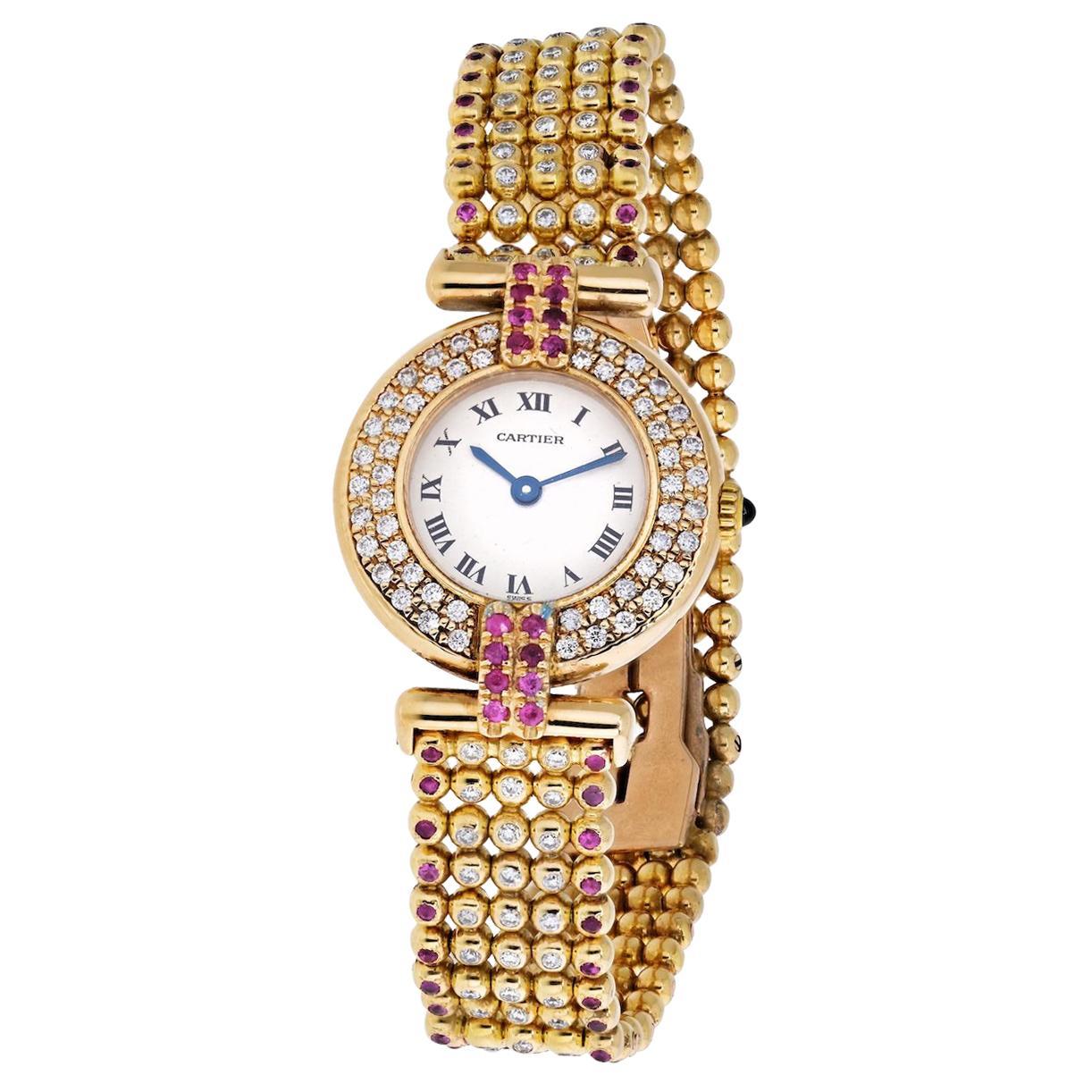 Cartier Rivoli 18 Karat Yellow Gold 1292 Diamonds and Ruby Ladies Watch
