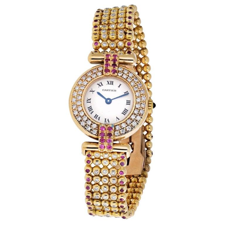 Cartier Rivoli 18 Karat Yellow Gold 1292 Diamonds and Ruby Ladies Watch For Sale