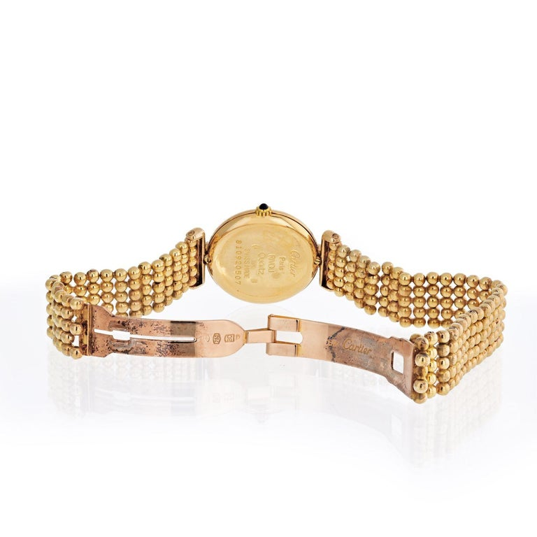 Modern Cartier Rivoli 18 Karat Yellow Gold 1292 Diamonds and Ruby Ladies Watch For Sale