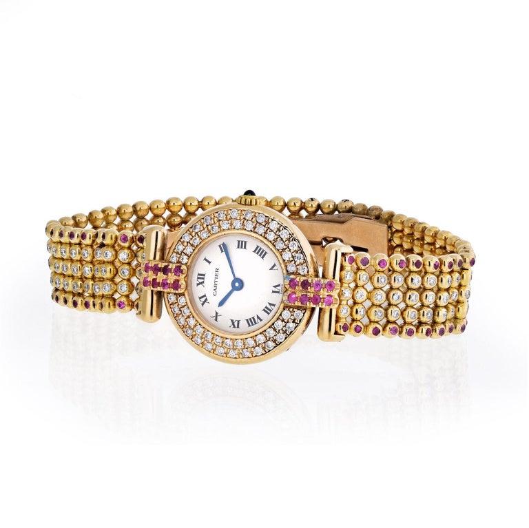 Round Cut Cartier Rivoli 18 Karat Yellow Gold 1292 Diamonds and Ruby Ladies Watch For Sale