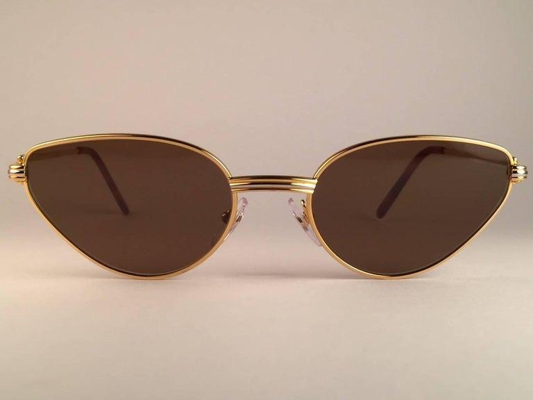 Women's Cartier Rivoli Vendome 56mm Cat Eye Heavy Gold Plated Sunglasses France For Sale