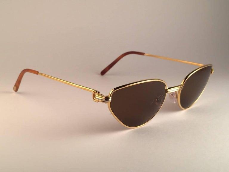Cartier Rivoli Vendome 56mm Cat Eye Heavy Gold Plated Sunglasses France For Sale 1