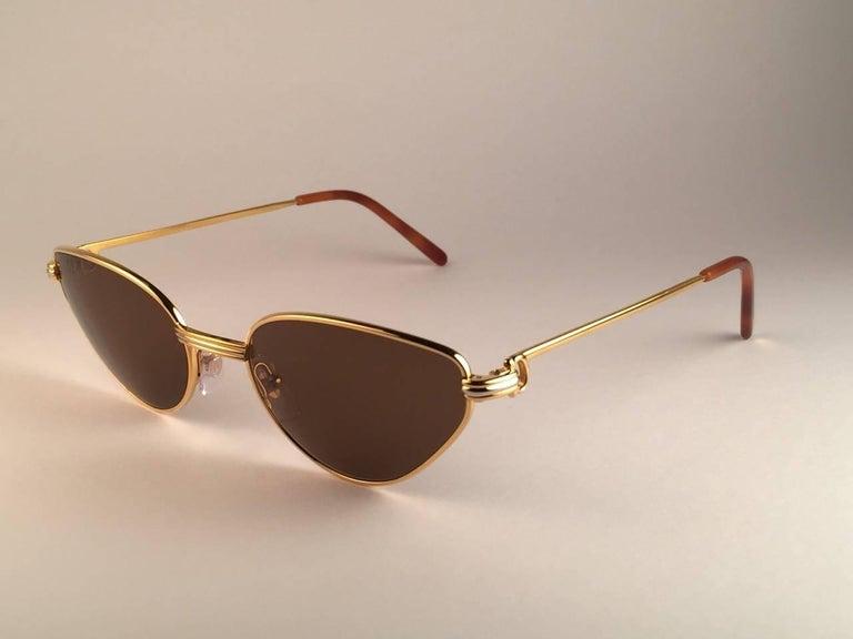 Cartier Rivoli Vendome 56mm Cat Eye Heavy Gold Plated Sunglasses France For Sale 2