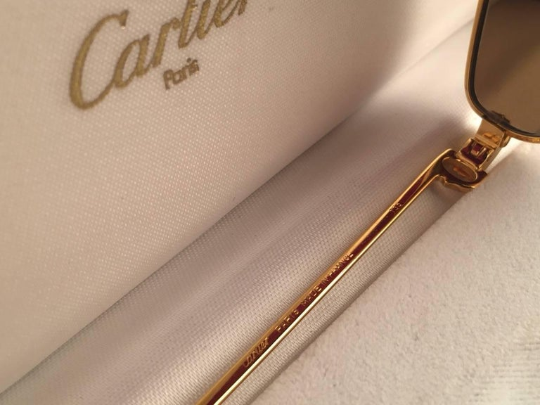 Cartier Rivoli Vendome 56mm Cat Eye Heavy Gold Plated Sunglasses France For Sale 3