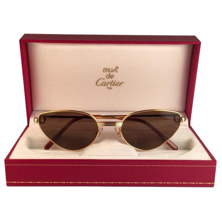 Cartier Rivoli Vendome 56mm Cat Eye Heavy Gold Plated Sunglasses France For Sale