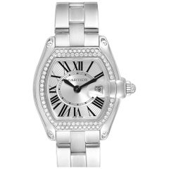 Cartier Roadster 18 Karat White Gold Diamond Ladies Watch WE5002X2