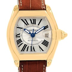 Cartier Roadster 18 Karat Yellow Gold Large Men's Watch W62005V2 Box Papers