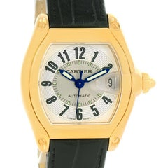 Cartier Roadster 18 Karat Yellow Gold Silver Dial Large Watch W62005V2