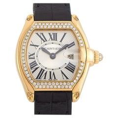 Cartier Roadster 18k Rose Gold Diamond Bezel Quartz Watch 3852