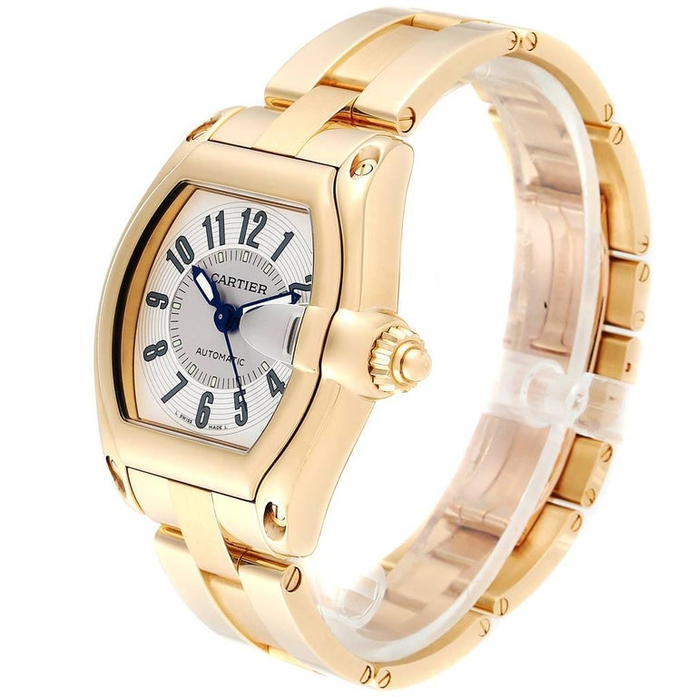 Cartier Roadster 18 Karat Yellow Gold Large Men's Watch W62005V1 In Excellent Condition In Atlanta, GA
