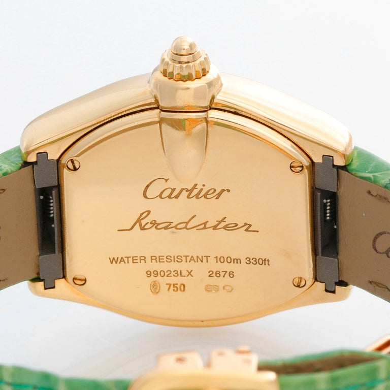Women's Cartier Roadster 18 Karat Yellow Gold Quartz W62018V1 For Sale