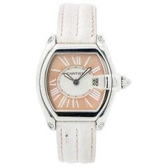 Cartier Roadster 2675 Women's Quartz Watch Salmon Dial Kevlar Leather Strap