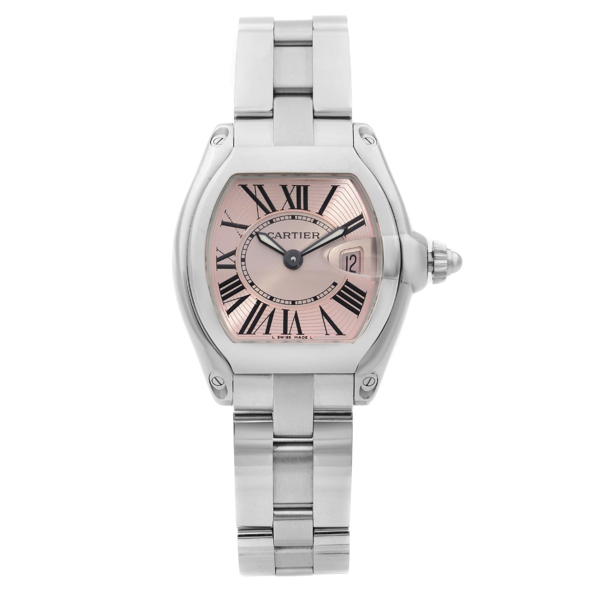 Cartier Roadster Stainless Steel Pink Dial Ladies Quartz Watch W62017V3