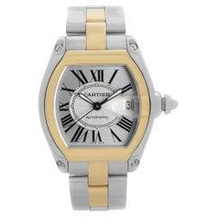 Cartier Roadster Steel 18k Gold Silver Dial Mens Automatic Watch W62031Y4