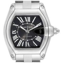 Cartier Roadster Black Dial Large Steel Men's Watch W62041V3 Box
